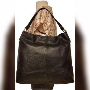 KOOBA Black Pebble Leather Shoulder Bag